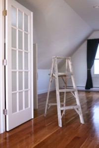 Ladder in painted room